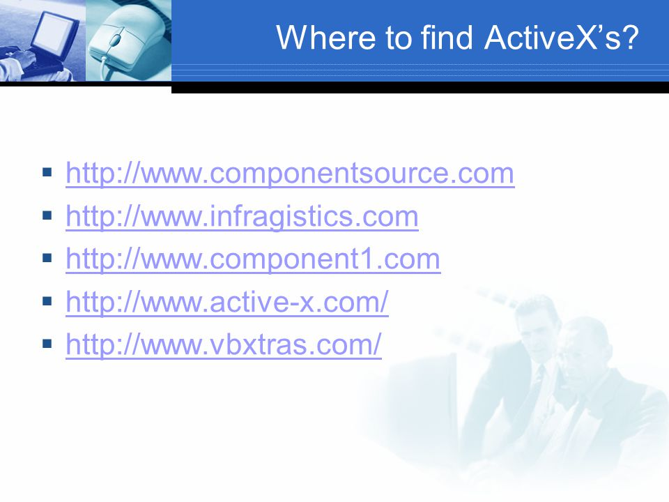 Where to find ActiveX's