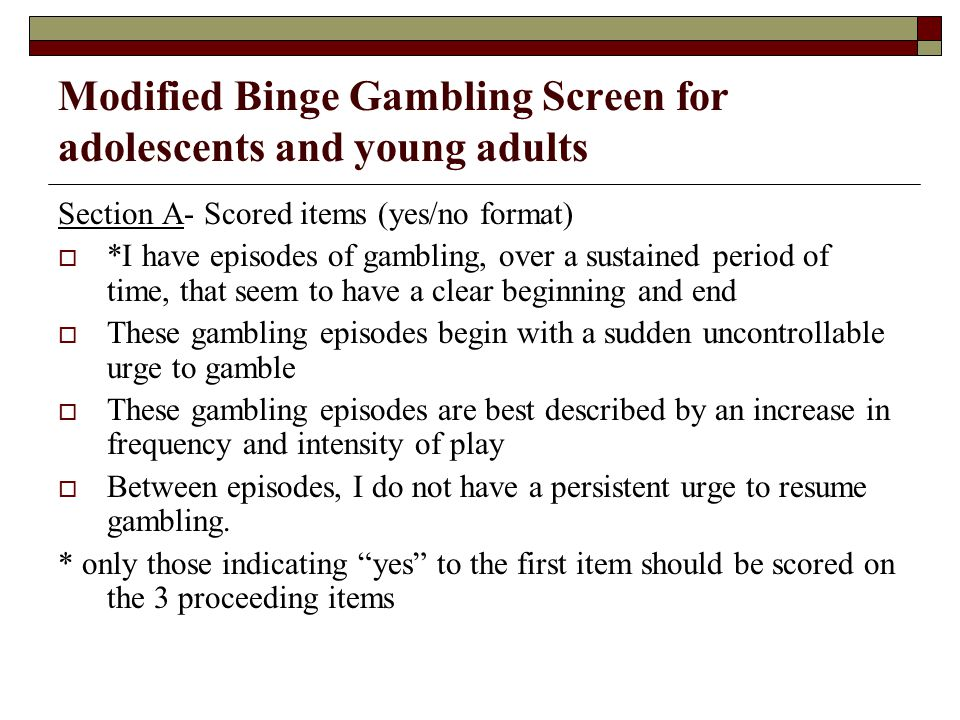 Modified Binge Gambling Screen for adolescents and young adults
