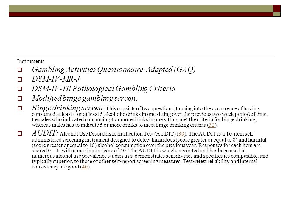 Gambling Activities Questionnaire-Adapted (GAQ) DSM-IV-MR-J