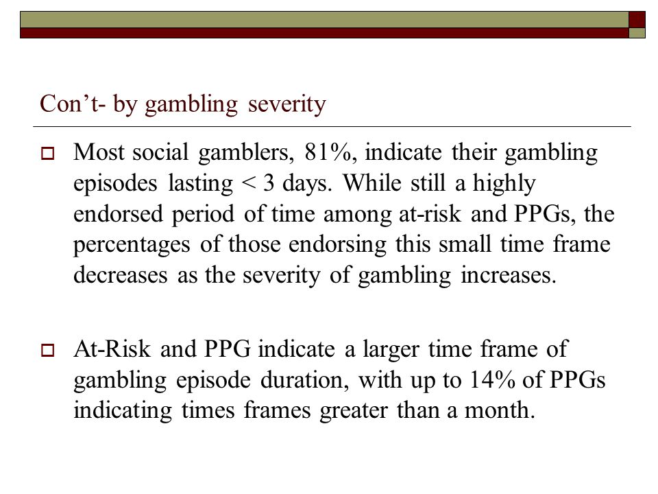 Con't- by gambling severity