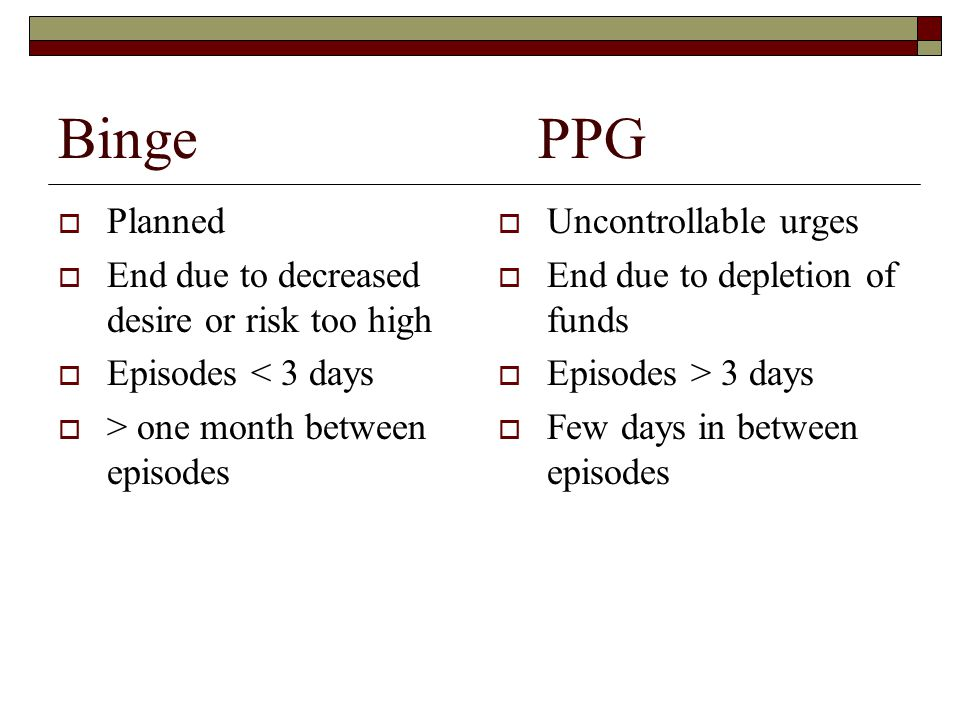 Binge PPG Planned End due to decreased desire or risk too high