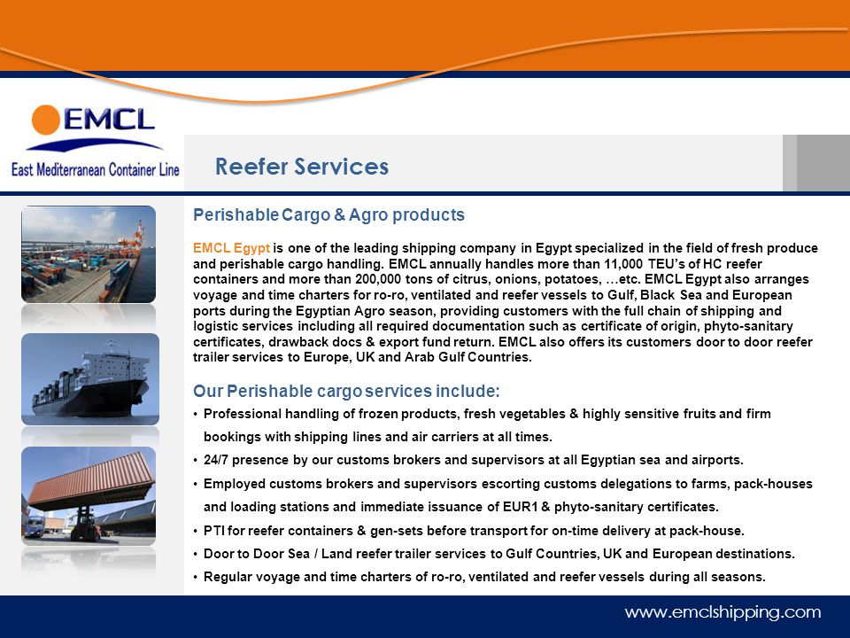 Reefer Services Perishable Cargo & Agro products
