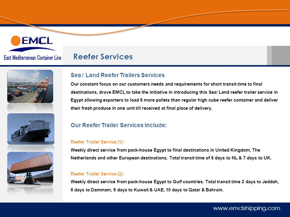 Reefer Services Sea / Land Reefer Trailers Services