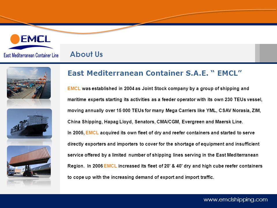 About Us East Mediterranean Container S.A.E. EMCL