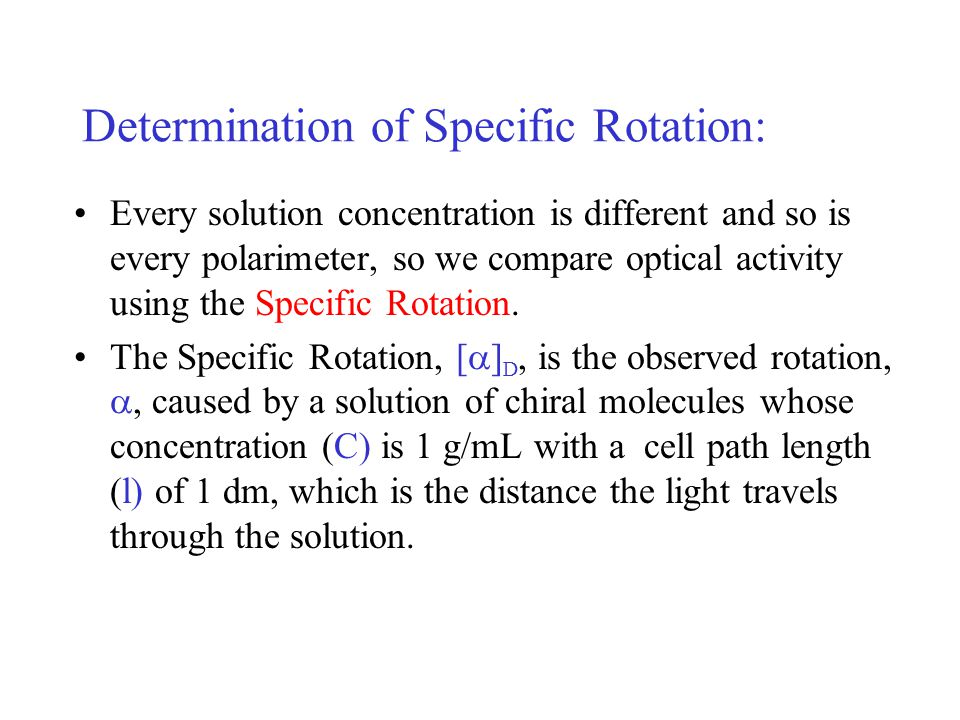 Determination of Specific Rotation: