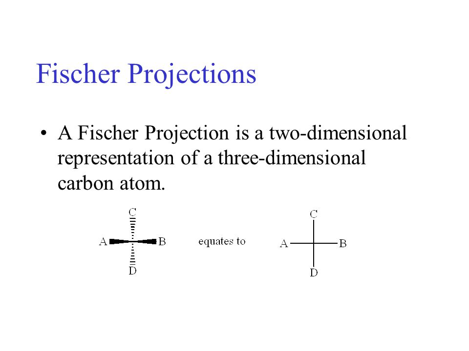 Fischer Projections A Fischer Projection is a two-dimensional representation of a three-dimensional carbon atom.