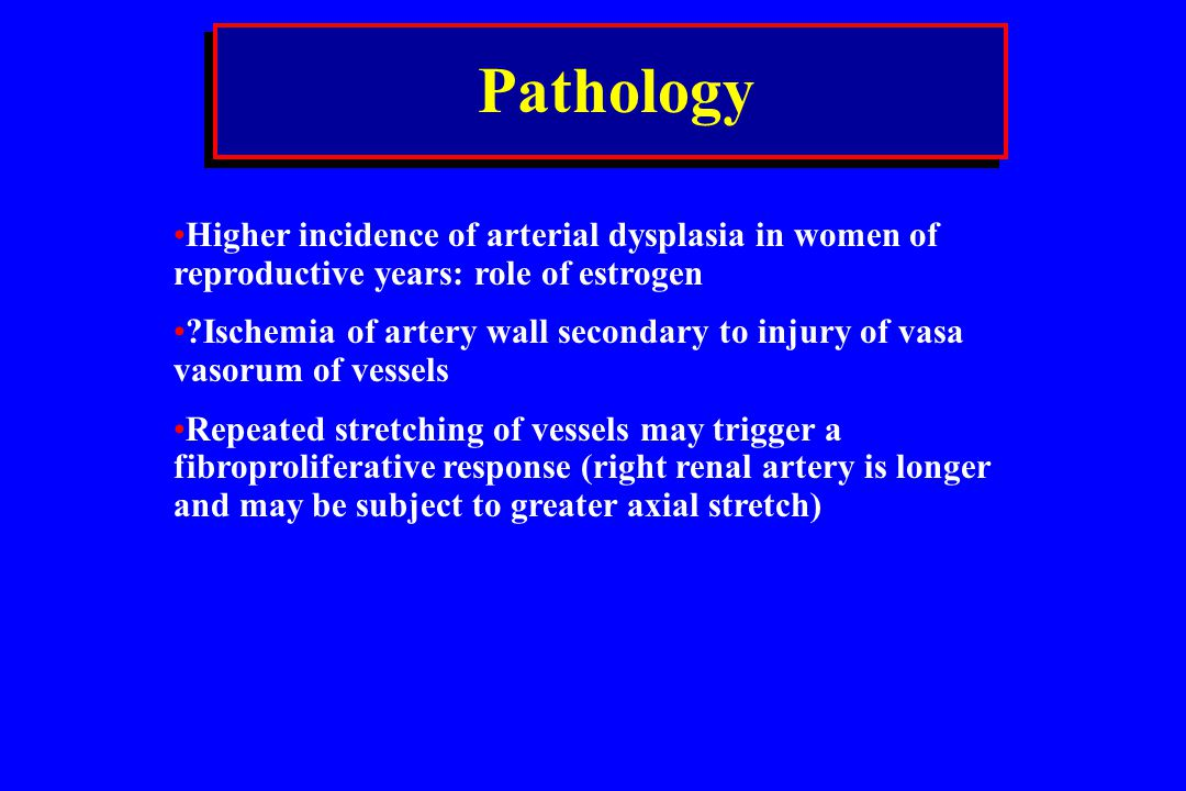Pathology Higher incidence of arterial dysplasia in women of reproductive years: role of estrogen.