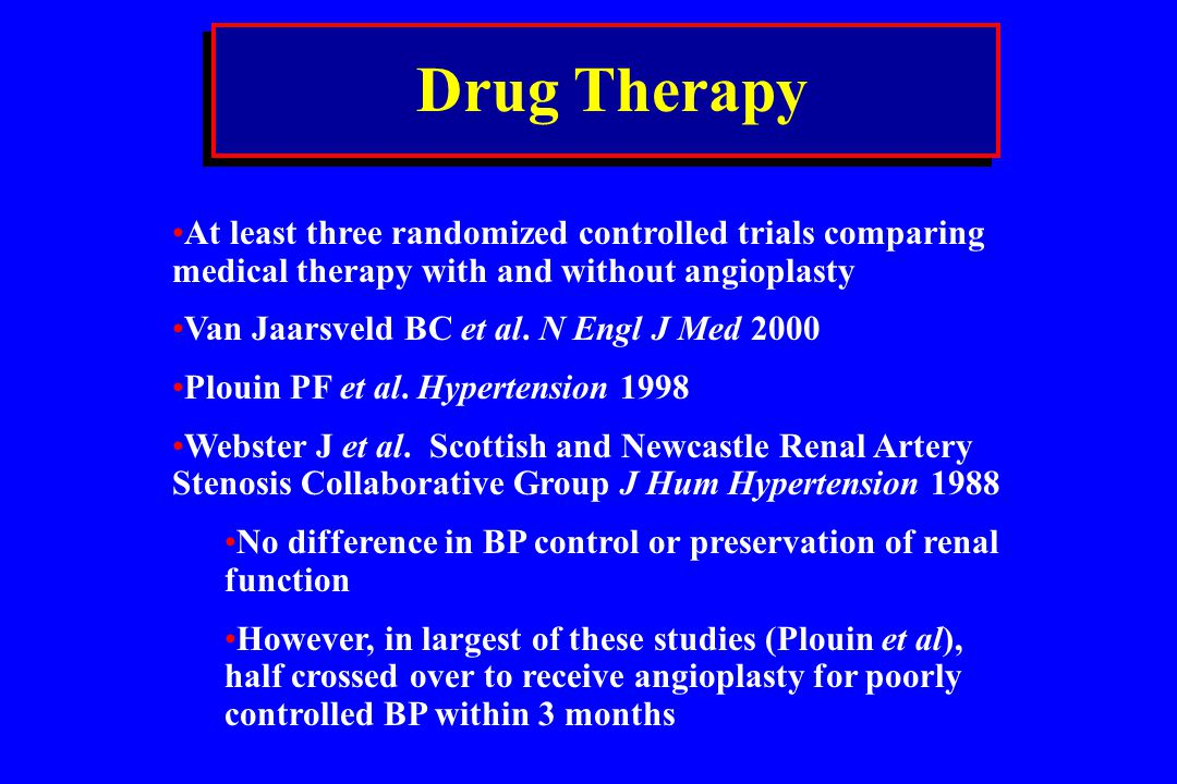 Drug Therapy At least three randomized controlled trials comparing medical therapy with and without angioplasty.