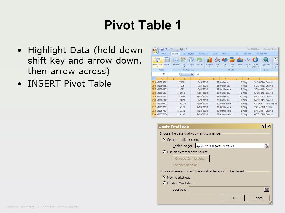 Pivot Table 1 Highlight Data (hold down shift key and arrow down, then arrow across) INSERT Pivot Table.