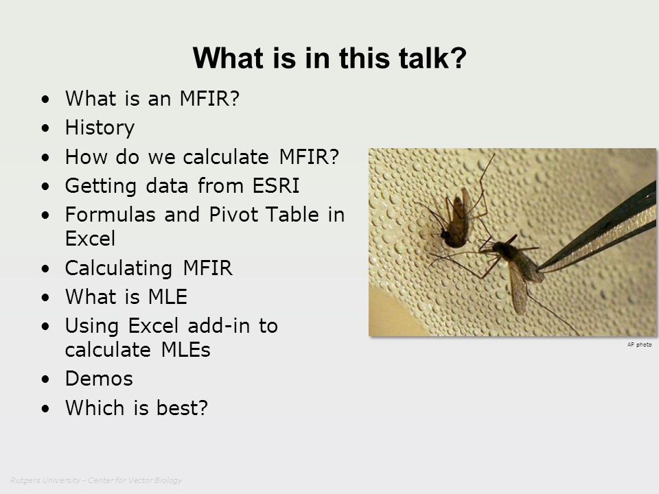 What is in this talk What is an MFIR History