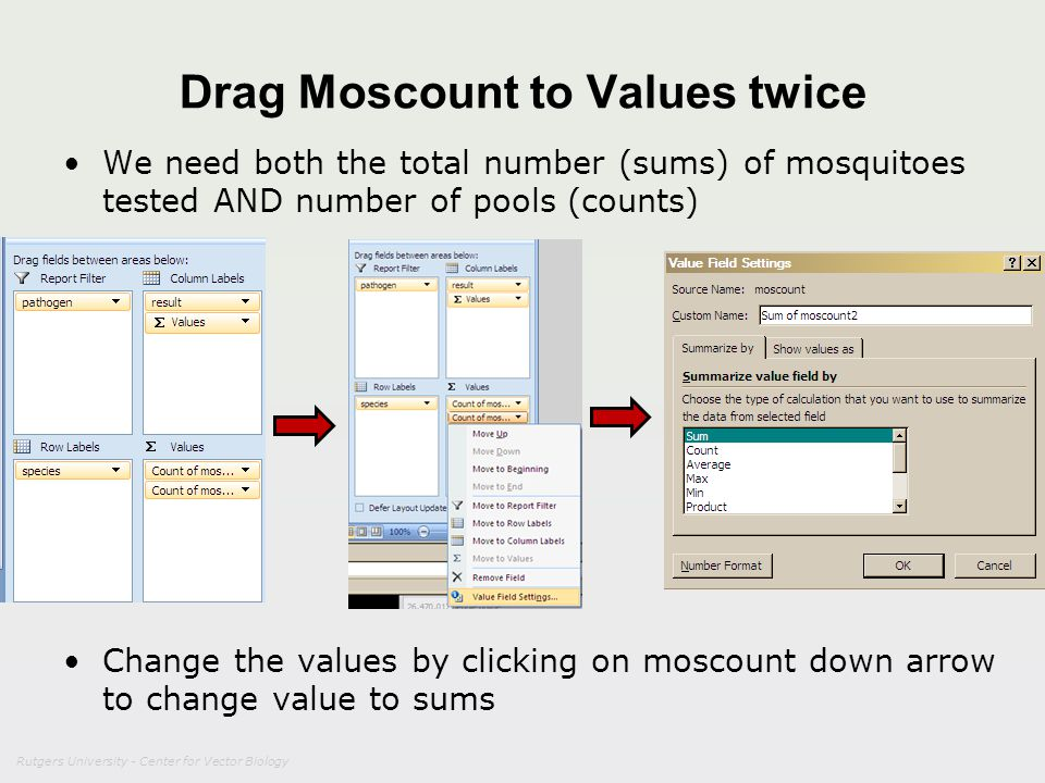 Drag Moscount to Values twice