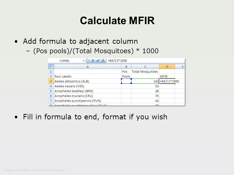 Calculate MFIR Add formula to adjacent column