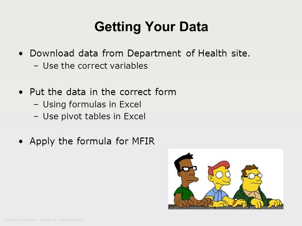 Getting Your Data Download data from Department of Health site.