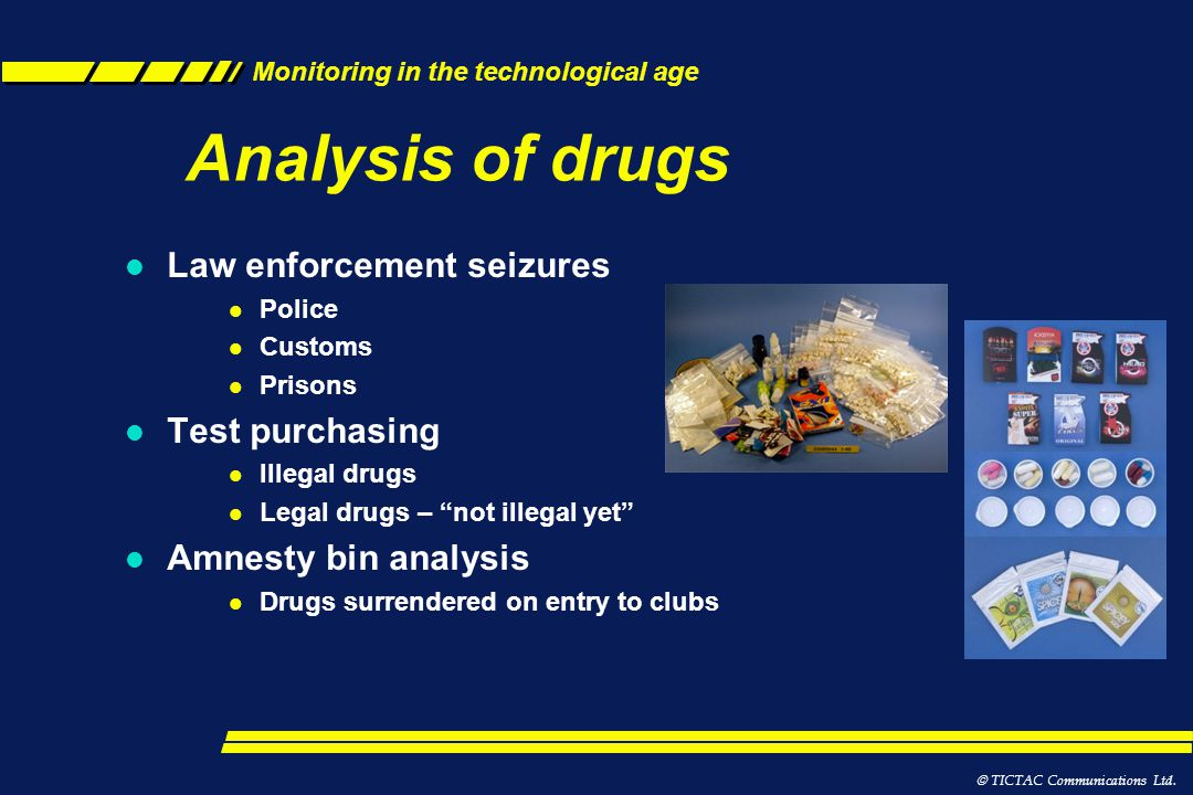 Analysis of drugs Law enforcement seizures Test purchasing