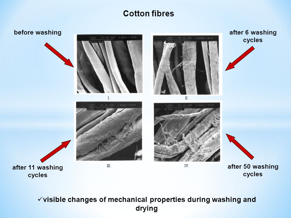 visible changes of mechanical properties during washing and drying