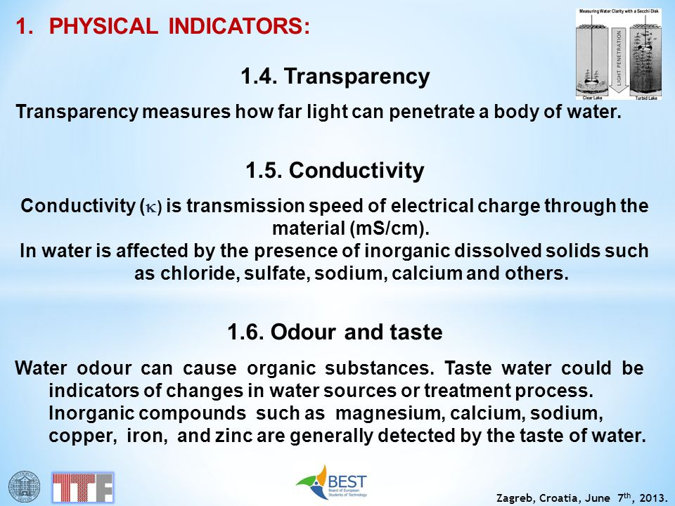 1.4. Transparency 1.5. Conductivity 1.6. Odour and taste