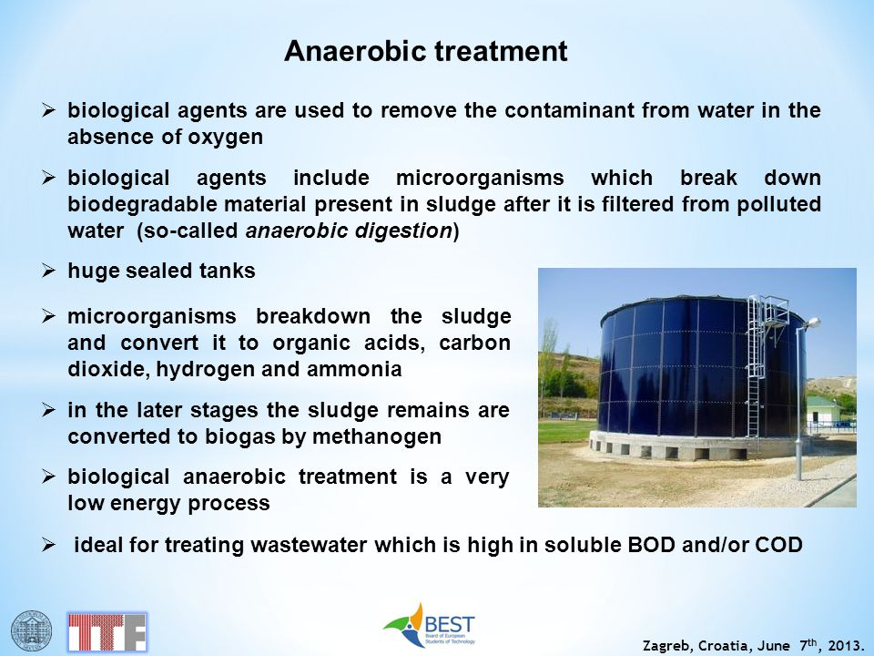 Anaerobic treatment biological agents are used to remove the contaminant from water in the absence of oxygen.