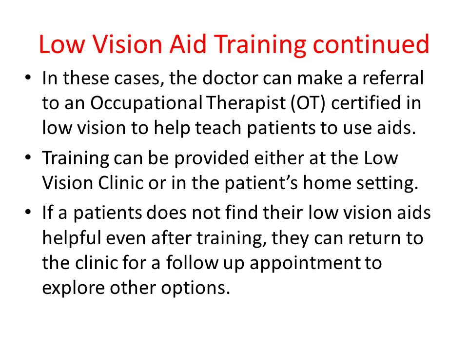 Low Vision Aid Training continued