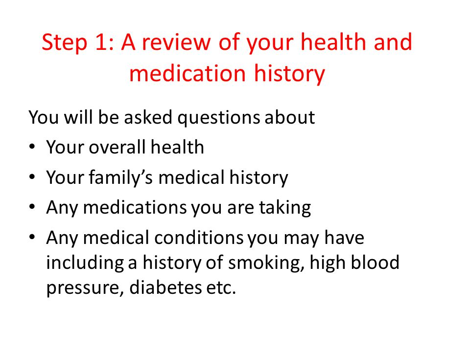 Step 1: A review of your health and medication history