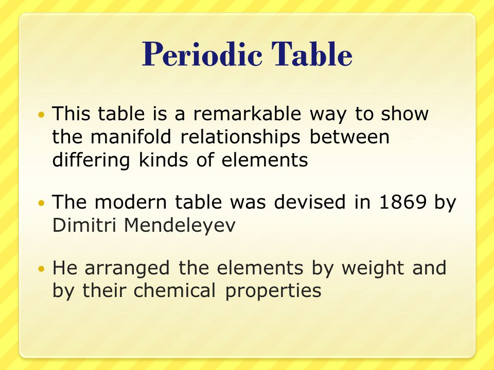 Periodic Table This table is a remarkable way to show the manifold relationships between differing kinds of elements.
