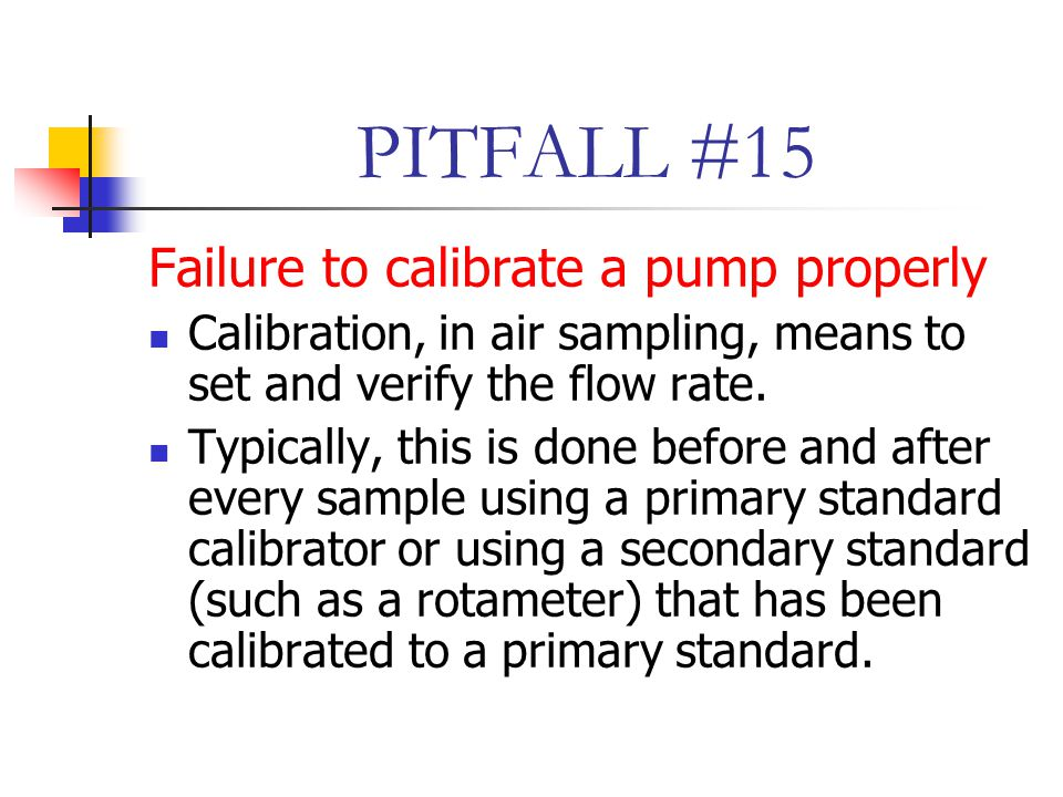 PITFALL #15 Failure to calibrate a pump properly