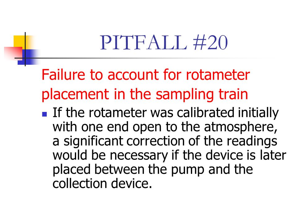 PITFALL #20 Failure to account for rotameter