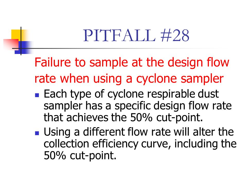 PITFALL #28 Failure to sample at the design flow