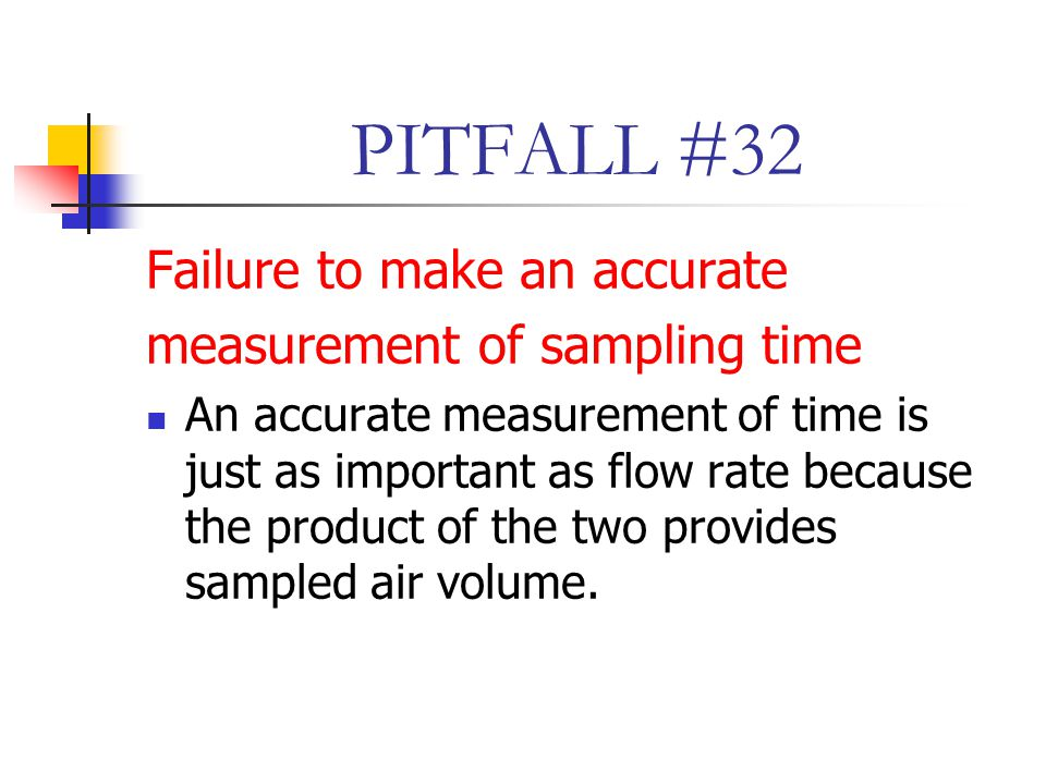PITFALL #32 Failure to make an accurate measurement of sampling time