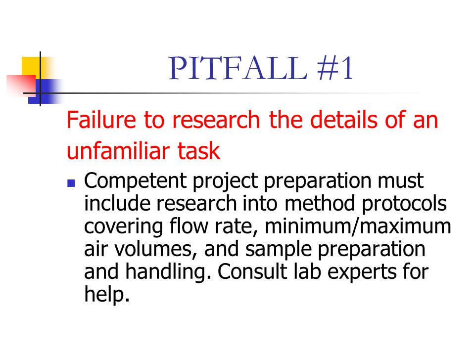 PITFALL #1 Failure to research the details of an unfamiliar task