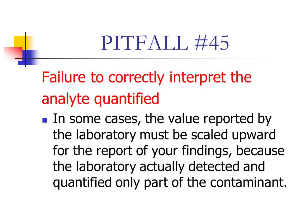 PITFALL #45 Failure to correctly interpret the analyte quantified