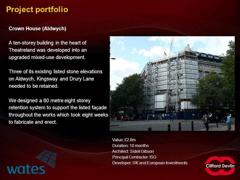 Project portfolio Crown House (Aldwych)