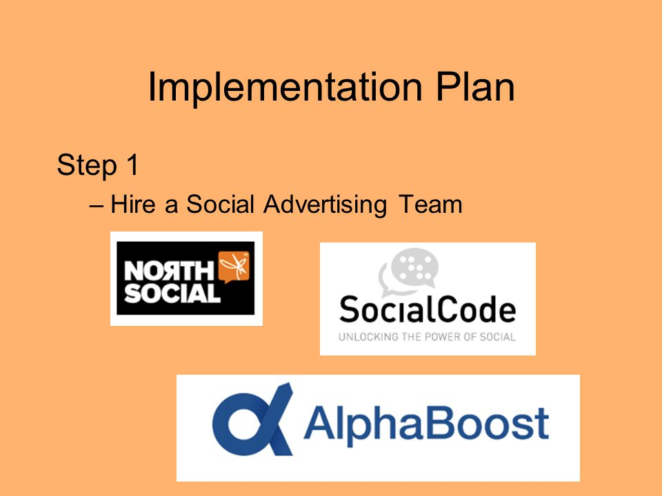 Implementation Plan Step 1 Hire a Social Advertising Team
