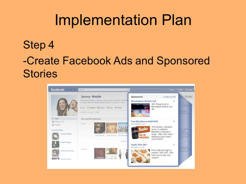 Implementation Plan Step 4 -Create Facebook Ads and Sponsored Stories