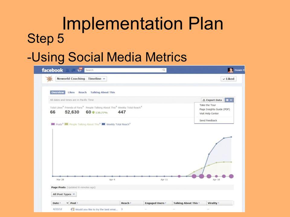 Implementation Plan Step 5 -Using Social Media Metrics