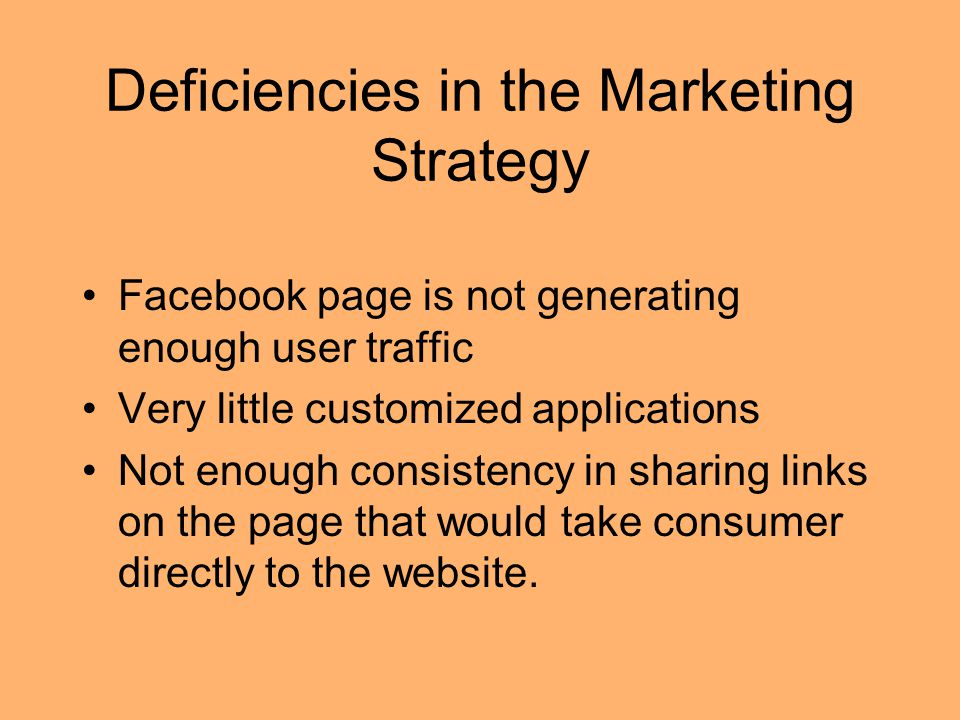 Deficiencies in the Marketing Strategy