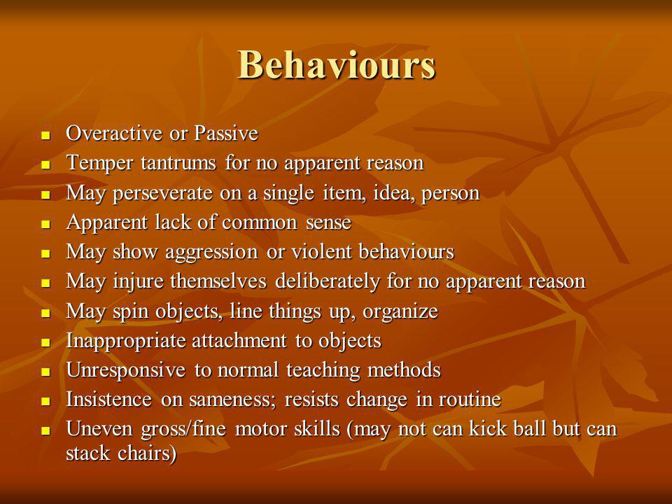 Behaviours Overactive or Passive