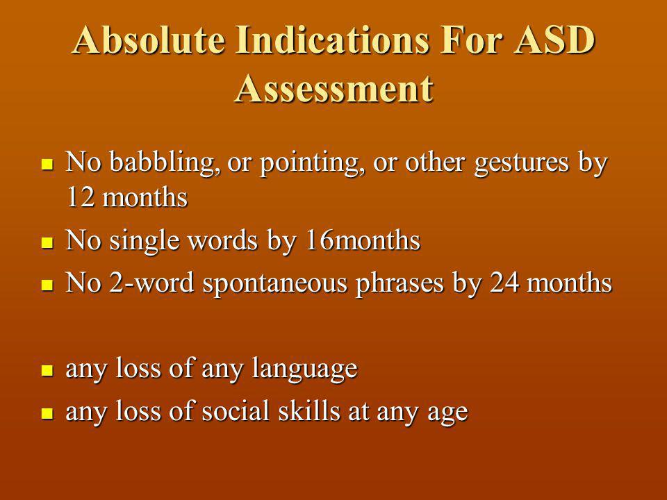 Absolute Indications For ASD Assessment