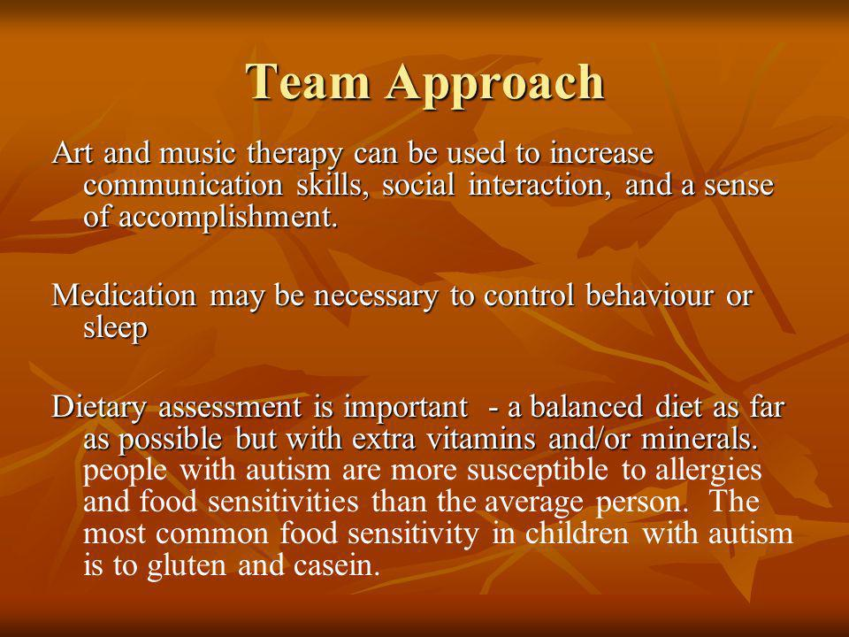 Team Approach Art and music therapy can be used to increase communication skills, social interaction, and a sense of accomplishment.