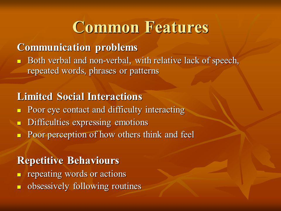 Common Features Communication problems Limited Social Interactions