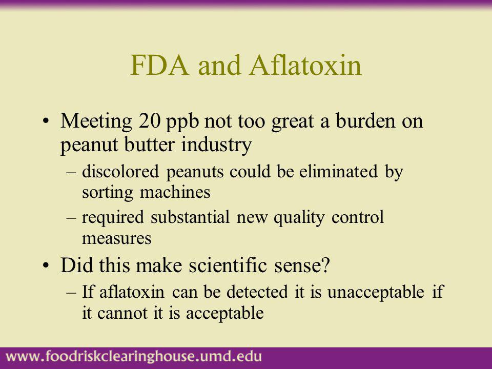 FDA and Aflatoxin Meeting 20 ppb not too great a burden on peanut butter industry. discolored peanuts could be eliminated by sorting machines.