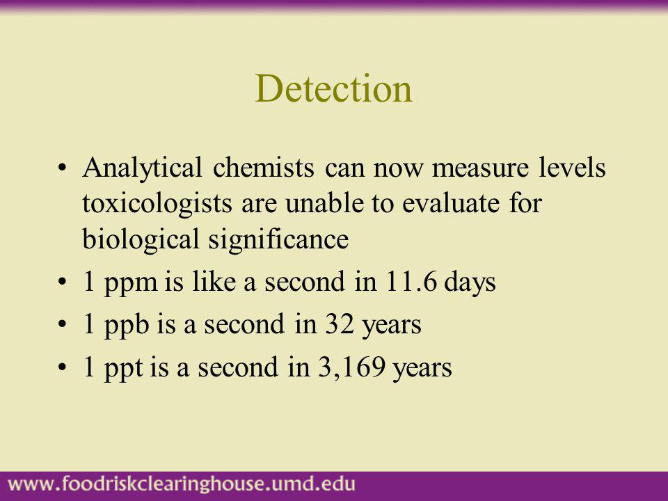 Detection Analytical chemists can now measure levels toxicologists are unable to evaluate for biological significance.