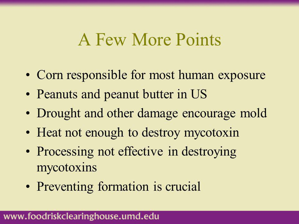 A Few More Points Corn responsible for most human exposure