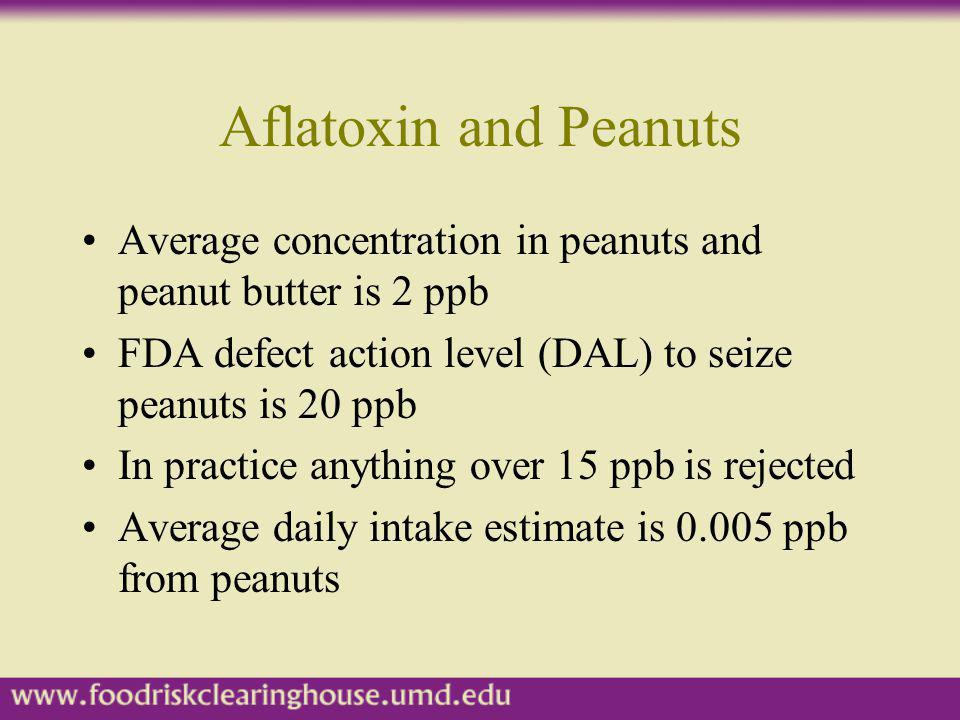 Aflatoxin and Peanuts Average concentration in peanuts and peanut butter is 2 ppb. FDA defect action level (DAL) to seize peanuts is 20 ppb.