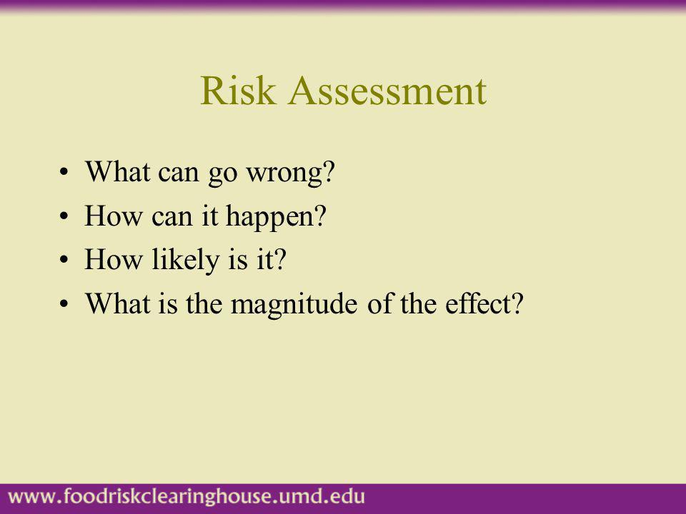 Risk Assessment What can go wrong How can it happen