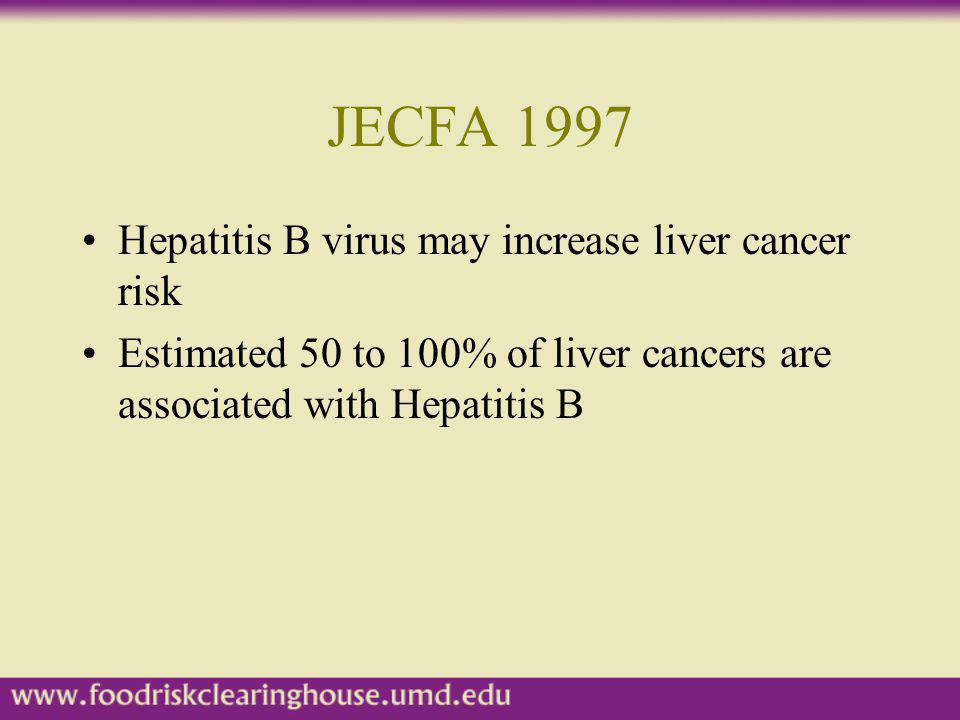 JECFA 1997 Hepatitis B virus may increase liver cancer risk