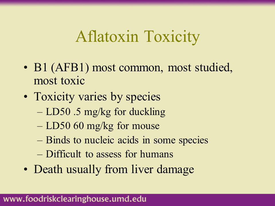 Aflatoxin Toxicity B1 (AFB1) most common, most studied, most toxic
