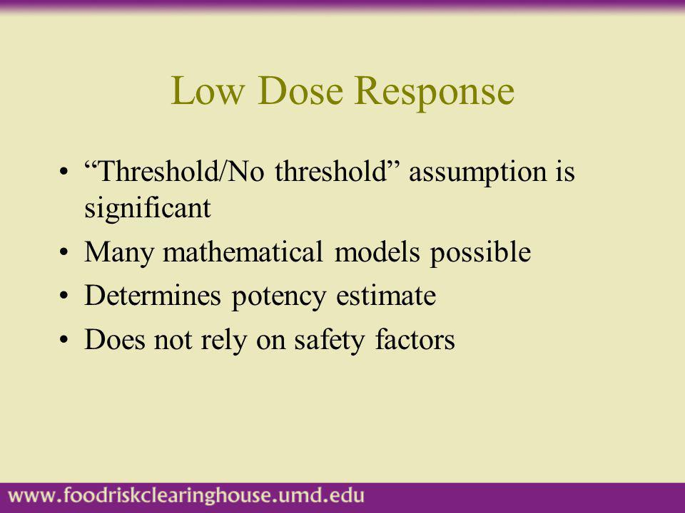Low Dose Response Threshold/No threshold assumption is significant