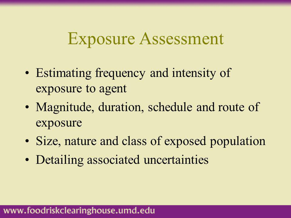 Exposure Assessment Estimating frequency and intensity of exposure to agent. Magnitude, duration, schedule and route of exposure.