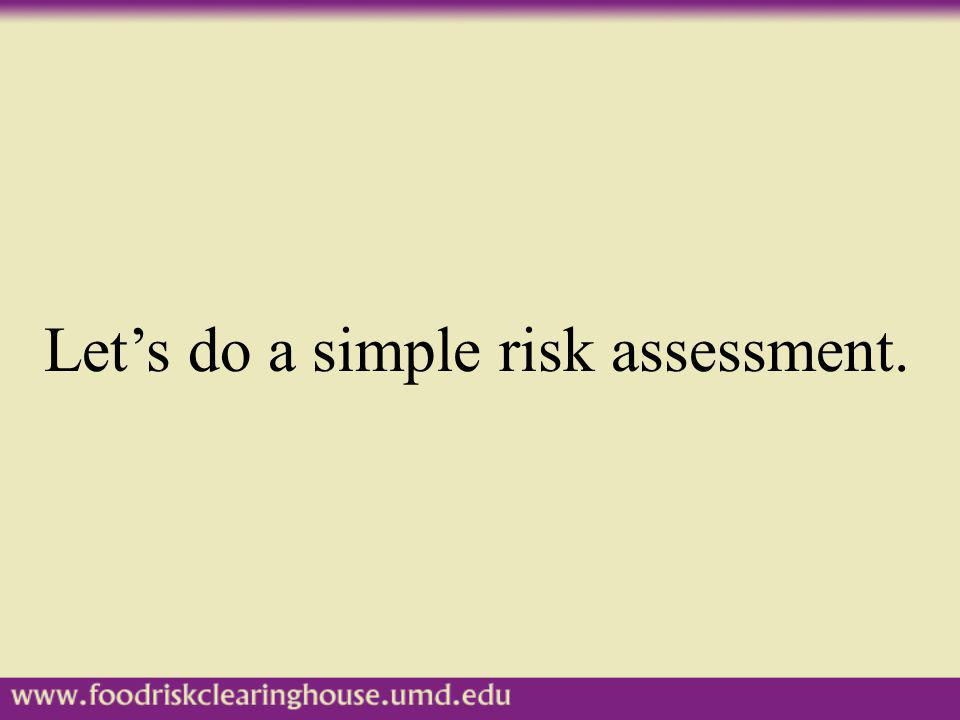 Let's do a simple risk assessment.