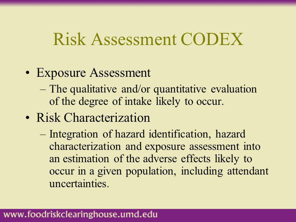 Risk Assessment CODEX Exposure Assessment Risk Characterization